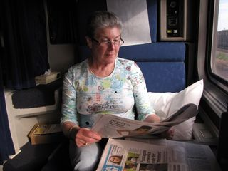 """Good morning! Mom took a moment to read USA Today, aka the """"McPaper"""", as we traveled through Indiana."""