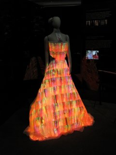 This is Cute Circuit's Galaxy Dress, which is a dress with 24,000 LEDs woven into it. Quite a bright sight, though I can't imagine anyone actually wearing such a dress...