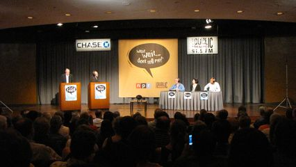 Thursday evening, we attended a taping of Wait Wait... Don't Tell Me! at the Chase Auditorium. The panelists at this taping were Adam Felber, Roxanne Roberts and Keegan-Michael Key. Surprisingly, I didn't enjoy the taping of the show. Maybe it's because I didn't recognize any of the panelists, or perhaps this show just isn't my cup of tea (which is entirely possible).