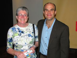 """Afterwards, Sis and Chris posed with host Peter Sagal, as did Mom. Then the three of them all posed with Roxanne Roberts. Chris is making his """"Stephen Colbert face"""" with Peter Sagal."""