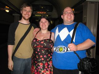 After leaving the show, at Monroe station, Mom got a shot of Chris, Sis, and me. We do look happy, don't we?