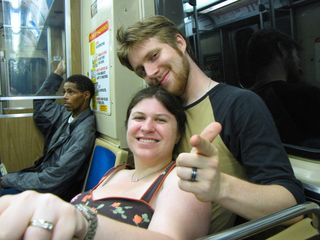 Then I got a photo of Sis and Chris on the train back to Jarvis station.