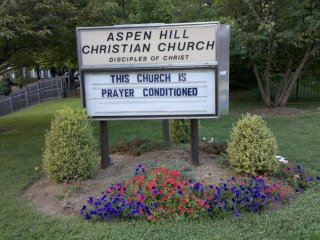 One of the churches near my house displays various messages on its sign that make an attempt at humor while trying to get people to come to church. This was posted in August, and was one of their more clever messages, making light of the extremely hot summer that we had.
