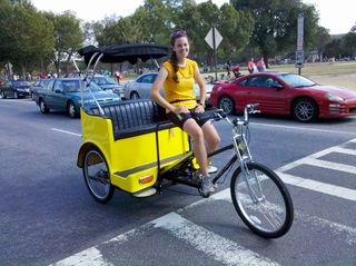 While out with Mom while she was up in DC for the weekend in late September, I was surprised to see Rachael, an intern at work at the time, driving a pedicab around the National Mall. At the time, I totally didn't recognize her outside of work...