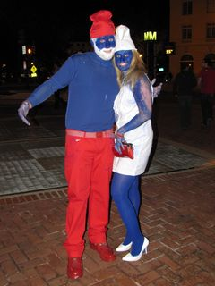 One of the times when you really need to be in Dupont Circle is on halloween. After the Stewart-Colbert rally, I found myself in Dupont Circle (somehow, I always end up in Dupont!), and got a chance to photo a few of the halloween costumes. The person at left is dressed as Sweetums the muppet, in the middle we have Papa Smurf and Smurfette (reminds me of this SNL clip), and at right, we have Flo from Progressive Insurance.