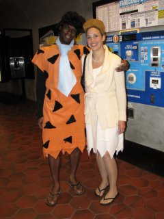 At Glenmont, I encountered more halloween revelers - one dressed as Pee-wee Herman, and a couple (who as it turns out are friends of one of my coworkers) who dressed as Fred and Wilma Flintstone.