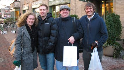 On December 19, a few of us from work got together to do some Christmas shopping at Eastern Market in DC. The final group turned out to be Katy, Alex Patton, me, and Alex Beauchamp. As you can see, we did fairly well in our shopping effort.