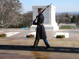 """The day after going to Philadelphia, Mom and I went over to Arlington Cemetery, where we saw the guard """"walking the mat"""" in front of the Tomb of the Unknowns."""