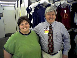 Katie poses with Steve, our old boss, in the Lynchburg Wal-Mart.