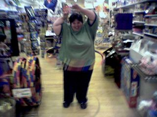 At Perrywinkle Toys at Valley View Mall in Roanoke, Katie and I each took a spin with a hula hoop, and trust me - neither one of us has a future that involves hula hoops.