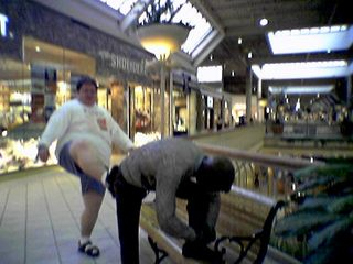 I take a moment to kick the little metal man tying his shoe in the butt at Valley View Mall.