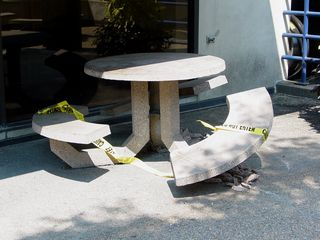 On August 3 (my black-and-white day), I took a rare color photo to show that this particular concrete table had finally deteriorated to the point of being unsafe. A shame, too - that table was a favorite of mine.