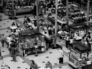 This was taken just before the big Scout Jamboree of 2005. As a result, Pentagon City Mall was crawling with people in Boy Scout uniforms. I took it in black and white due to this photo's being intended for my Shades of Gray set, but I wish I had also taken a color photo of this scene to show everyone in their matching scout uniforms.