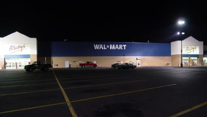 """That rare moment during a Wal-Mart remodel, shown here at the Dayton store, where the word """"Supercenter"""" is gone from the building."""