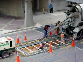 While the work at Vienna was going on, there was also a project going on in the street at Rosslyn, as a new access was being built in the middle of the street.