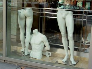 In a store on Wisconsin Avenue NW near the Friendship Heights station, I encountered this display of mannequin parts. An odd display to be sure, but I'm guessing the display was quite unfinished.