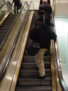 On November 16, I demonstrate for you one thing - even when shopping at the mall away from the Metro, in the DC area, we still stand to the right on escalators.
