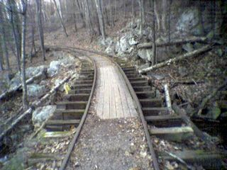 On November 25, which was Black Friday, I took a drive on the Blue Ridge Parkway after work to relax. I had a blast, too. I took a moment to explore this reproduction of an old logging railroad at Yankee Horse Ridge, which was a lot of fun. I walked the track from one end to the other and back.