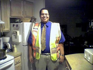 After I surprised my friend Matthew Tilley later that day, I let him try on my FliteStar vest. It really is the exact same kind of safety vest they use on the Metro!