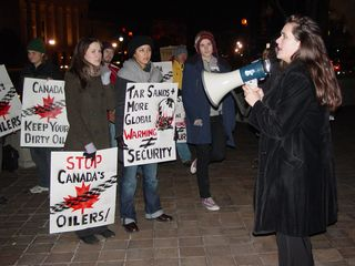 The protest outside the Canadian embassy against oil extraction in the Alberta Tar Sands was fun and spirited. It was very cold on this particular night, but the activists present were a dedicated bunch.