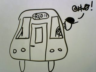 I think I was trying to explain closing the doors to someone at work, and doodled this picture on the whiteboard. What you're seeing is a WMATA employee wearing a safety vest and a hat sticking his head out the cab window of a Breda rehab to close the doors, and cursing the fact that he can't get the doors closed.