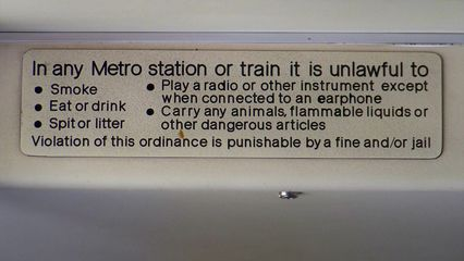 This photo of Metro's rules sign on Breda 4007, taken with a high zoom while we were stopped, came out very sharp. I was impressed with the quality, but would later find out that this was not typical of the Kodak's image quality, which would typically not do well with fine details.
