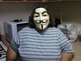 On the first day in town, Katie tried on my Guy Fawkes mask. Looks good!