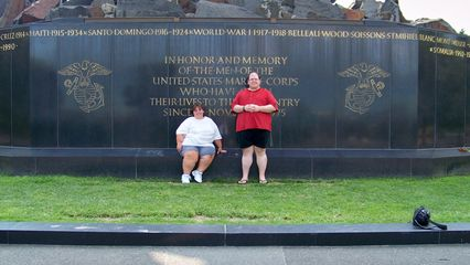 Once the group cleared, Katie and I got someone to take a picture of us in front of the Iwo Jima Memorial.