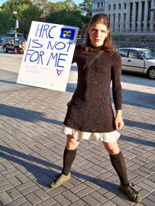 """Following another trip to Rosslyn on Ovtober 4, I swung by the Washington Convention Center. There, a number of my protest buddies were putting on a demonstration called """"Funk the HRC"""", which challenged the Human Rights Campaign to take a better position as it relates to transgendered individuals."""