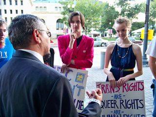 A representative from the HRC speaks with the group.