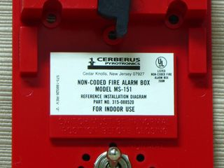 Cerberus Pyrotronics MS-151, label