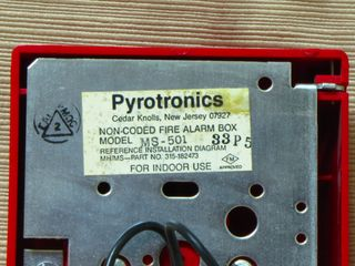 Cerberus Pyrotronics MS-501, label on back of station