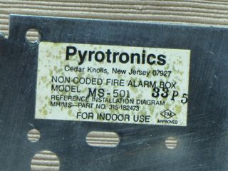 Cerberus Pyrotronics MS-501, label on back panel inside station