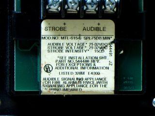 Cerberus Pyrotronics MTL-S15-S, label