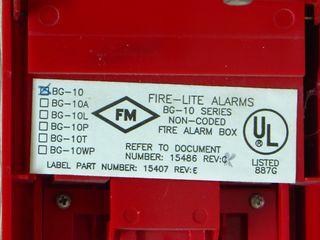 Fire-Lite BG-10, label