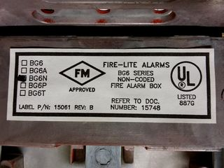 Fire-Lite BG-6, label