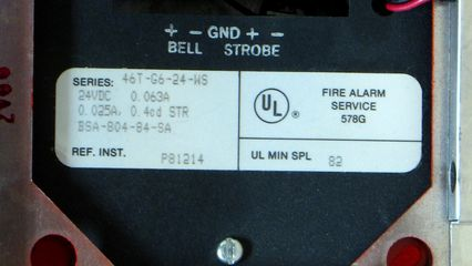 Wheelock 46T-G6-24-WS, label
