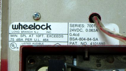 Wheelock 7001T-24, label