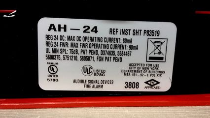 Wheelock AH-24, label