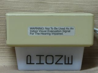 Wheelock PS-11A, warning label indicating that this is not a fire alarm strobe