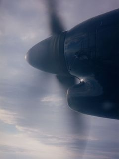 The right propeller, in flight.