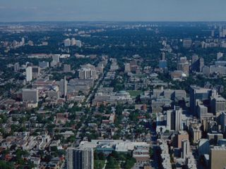 This is the view from the large lower part of the CN Tower.