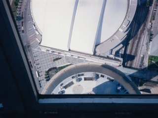 Three shots from the CN Tower's upper viewing deck.