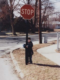 "One of the noteworthy features of our neighborhood in Glassboro was the ""falling down stop sign"", so named because it looked like it was falling down, likely due to having been struck. When we drove by the falling down stop sign in August 1996 while visiting family nearby, the falling down stop sign had been replaced, and thus was no longer falling down. However, by September 2009, the falling down stop sign was once again at an angle, likely due to soil settlement, but now leaning left instead of right."