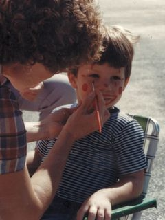 Face painting. This series of photos shows me before, then having face painting done, and then afterwards. I vaguely remember this face painting session, but it's kind of fuzzy.