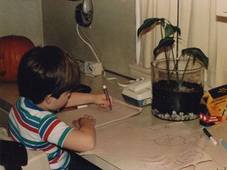 Hard at work, in this case drawing stop signs. Yes, I was something of a roadgeek, even from a very young age...