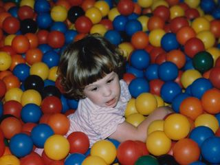 While my buddies and I were having fun all over the place, Sis played around in the ball pit.
