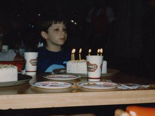 Getting ready to blow out the candles on my cake.