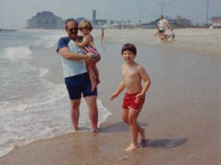 On the beach at Asbury Park, New Jersey in August 1987. The Casino is visible in the background.