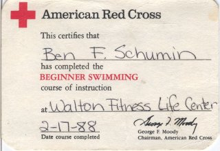 Later that same month, I completed the American Red Cross's beginner swimming course. That was a very valuable course for me. I am quite comfortable in the water, and have no fear of it.